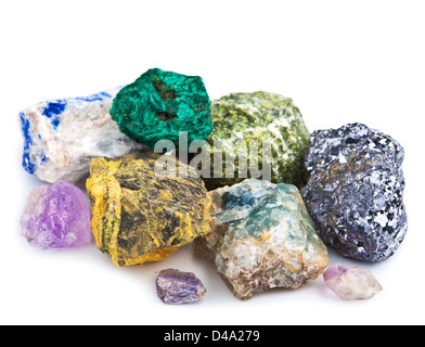 collection of minerals isolated - Stock Photo