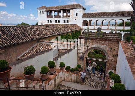 Inner yard of Generalife palace in Alhambra complex, Granada, Spain - Stock Photo