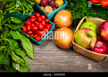 Fresh farmers market fruit and vegetable on display - Stock Photo