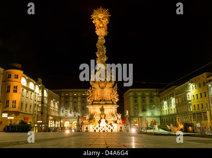 Famous Baroque Trinity / Plague Column on Linz main square (Hauptplatz), Austria - Stock Photo