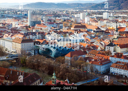 Panorama of Graz, beautiful view from Schlossberg above the city. Kunsthaus - Stock Photo
