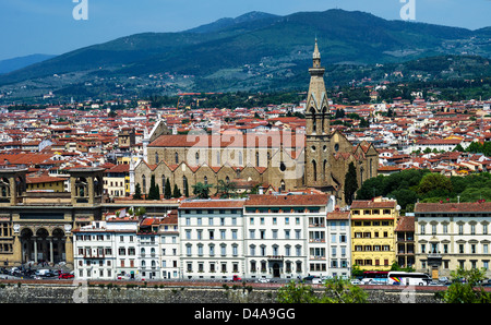 The magnificent Gothic church of Santa Croce (1294) with Neo-Gothic campanile, added in 1842. Florence, Tuscany, - Stock Photo
