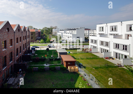 Berlin, Germany, view over a newly built housing estate in Berlin-Rummelsburg - Stock Photo