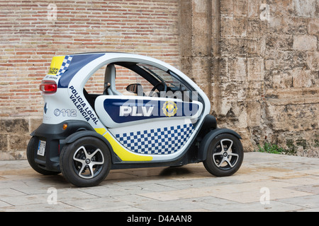 renault twizy battery powered electric car plugged in to a sol lar stock photo royalty free. Black Bedroom Furniture Sets. Home Design Ideas