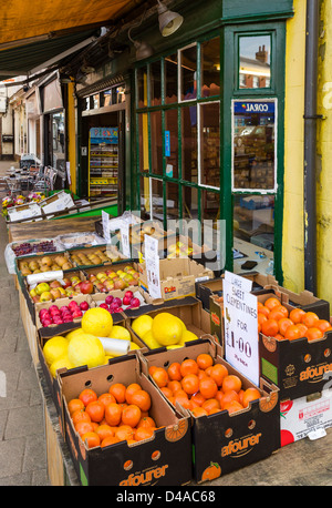 Traditional greengrocers shop on Market Street (the main street), Ashby-de-la-Zouch, Leicestershire, East Midlands, - Stock Photo