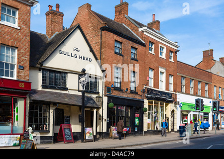 Shops on Market Street (the main street), Ashby-de-la-Zouch, Leicestershire, East Midlands, UK - Stock Photo