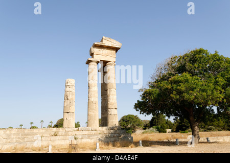 Rhodes. Greece. Remaining columns of the 3rd century BC Temple of Pythian Apollo on Monte Smith, a hill west of - Stock Photo
