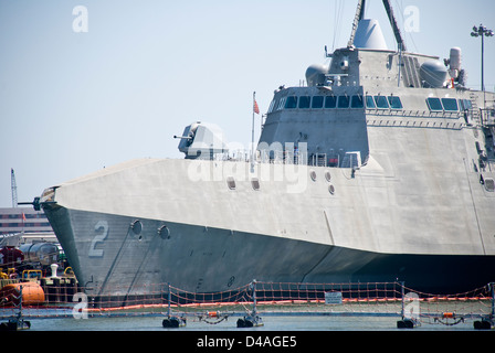 United States Littoral Combat Ship USS Independence (LCS-2) is shown docked at Naval Station Norfolk in Norfolk, - Stock Photo