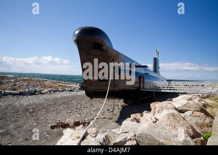 Submarine museum Onondaga anchored in Pointe-au-Pere, Bas-Saint-Laurent, Quebec - Stock Photo