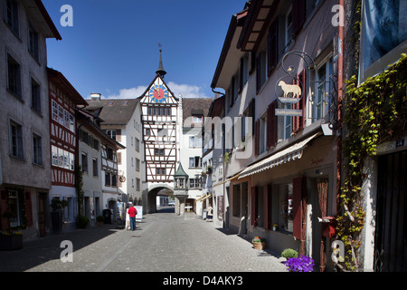 Stein am Rhein, Switzerland, the lower gate in the old town - Stock Photo