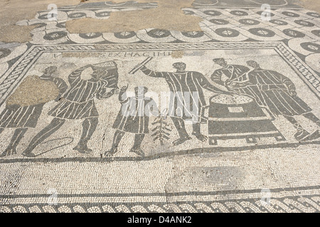 Mosaic in the ancient Roman town of Ostia Antica near Rome, Italy - Stock Photo