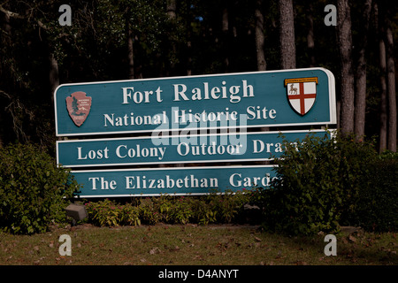 Sign to Fort Raleigh National Historic Site on Roanoke Island in North Carolina - Stock Photo