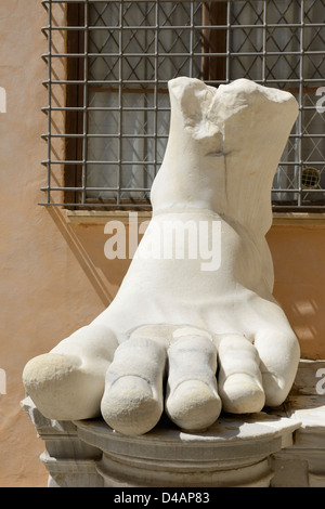 Foot from a giant statue at the Capitoline Museum in Rome, Italy - Stock Photo