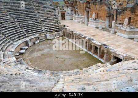 Theater, Antique city of Hierapolis, Pamukkale, Turkey, Western Asia  - Stock Photo