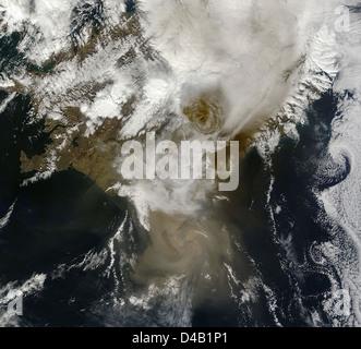 Ash Plume from Grímsvötn Volcano, Iceland - May 22 - Stock Photo