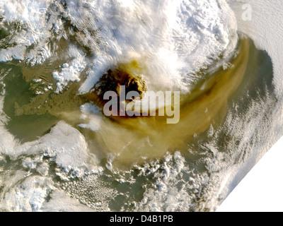 Grímsvötn Volcano Showing Plume - May 22 - Stock Photo