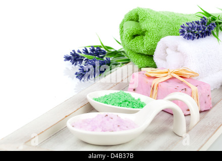 aromatic bath salt for relaxation, isolated on white background - Stock Photo