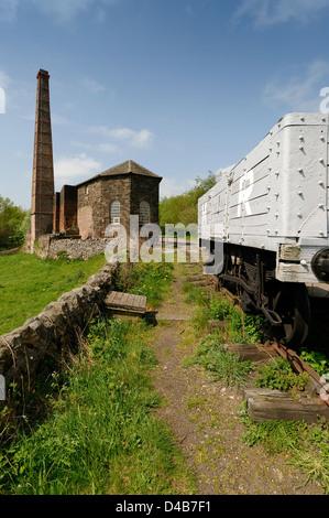 Middleton Top engine house and railway wagon, Derbyshire - Stock Photo