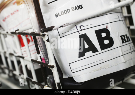 Blood group AB contains both A an B antigens and has no Antibodies present - Stock Photo