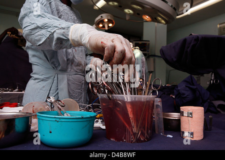 The equipment will be taken to be sterilized after the operation is complete. - Stock Photo