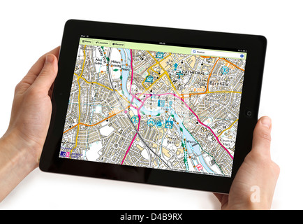 Using the OS MapFinder app on a 4th generation Apple iPad tablet computer - Stock Photo