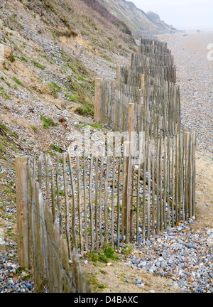 Soft engineering coastal defences at Dunwich, Suffolk, England - Stock Photo