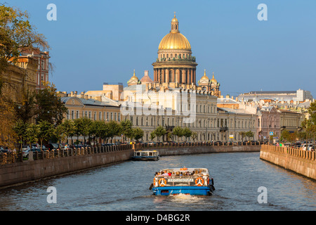 St. Petersburg, St. Isaac's Cathedral over Moyka River - Stock Photo