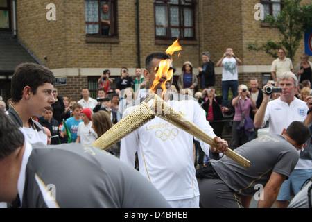 Torch relay in Faversham, Kent. - Stock Photo
