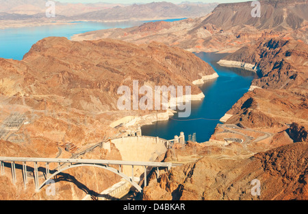 Aerial View of Lake Mead Boulder Dam, USA - Stock Photo
