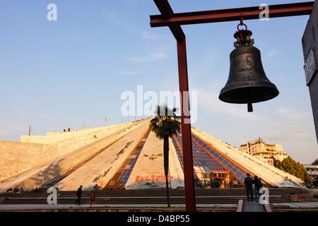 Pyramid and Bell of Peace. Tirana, Albania - Stock Photo