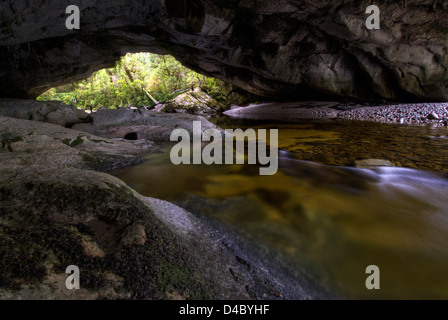 Moria Gate Arch, Oparara Basin, Kahurangi National Park, South Island, New Zealand - Stock Photo