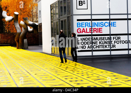 The letters grid outside the Berlinische Galerie modern art museum in Berlin, Germany - Stock Photo