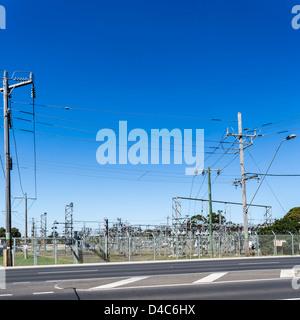 Suburban electricity distribution hub in Australia - Stock Photo
