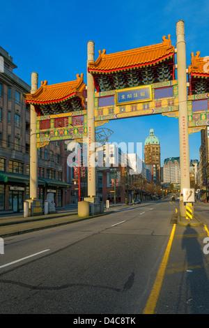 Chinatown Millennium Gate, Vancouver, British Columbia, Canada - Stock Photo