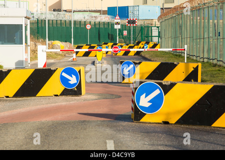Sellafield nuclear power station near Seascale in West Cumbria, UK with anti terrorist road barriers - Stock Photo