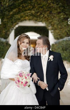 Czech singer Karel Gott and his longtime partner, Ivana Machackova, pose after their wedding in Las Vegas, USA, - Stock Photo