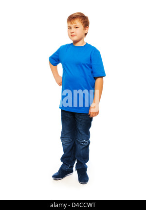 Gull height portrait of fat boy in full height isolated on white - Stock Photo