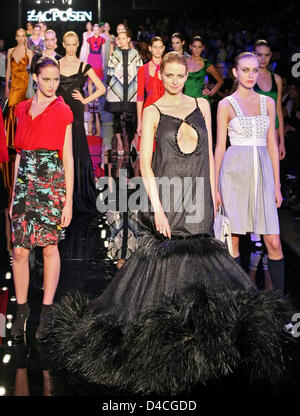 Model Eva Padberg (C) and some colleagues presents fashion by 'Zac Posen' within the scope of the Berlin Fashion - Stock Photo