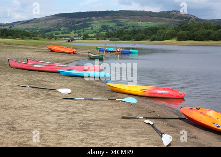 Boats next to the lake in Peak District, UK - Stock Photo