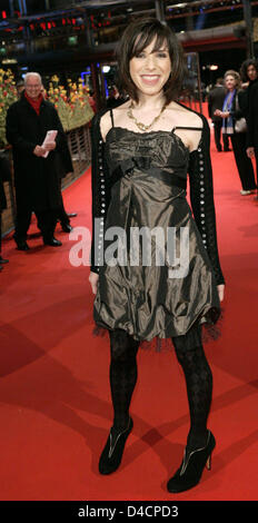 British actress Sally Hawkins poses on the red carpet ahead of the premiere of her film 'Happy-Go-Lucky' at the - Stock Photo