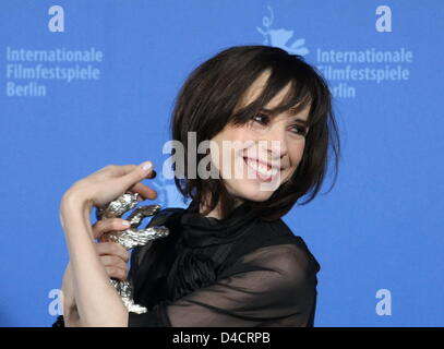 British actress Sally Hawkins poses with her Silver Bear for Best Actress at the 58th Berlin International Film - Stock Photo