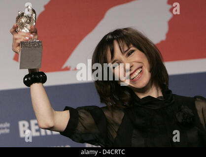 British actress Sally Hawkins poses with her Silver Bear award for best actress during the award ceremony at the - Stock Photo