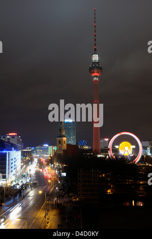 Christmas market with ferris wheel at the television tower, Berlin, Germany - Stock Photo