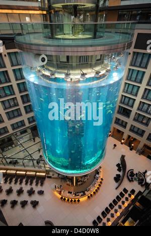 AquaDom in the lobby of the Radisson Blu hotel, Berlin, Germany - Stock Photo