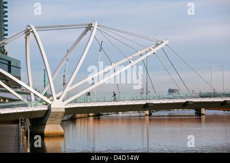 The Seafarers Bridge - a footbridge connecting Docklands with South Wharf. Melbourne, Victoria, Australia - Stock Photo