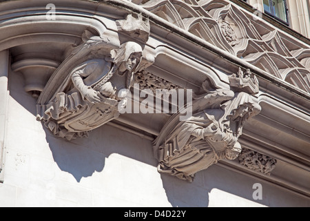 London, Westminster   Stone carving on the Supreme Court in Parliament Square - Stock Photo