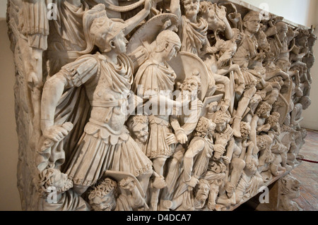 Italy, Lazio, Rome, Palazzo Altemps, Roman National Museum, Great Ludovisi, Marble Sarcophagus, 3rd century - Stock Photo