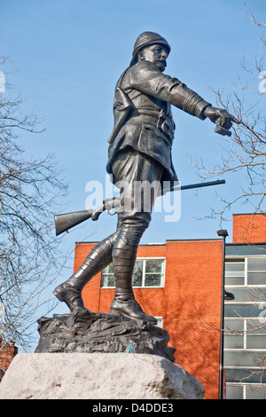 Statue of Lt Col William McCarthy O'Leary in Queen's Gardens, Warrington, Lancashire - Stock Photo