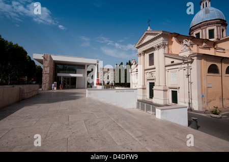 Italy, Lazio, Rome, Ara Pacis and San Rocco Church - Stock Photo
