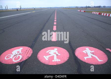Former Tempelhof Airport, Berlin, Germany,  former runway, today converted to a public park - Stock Photo
